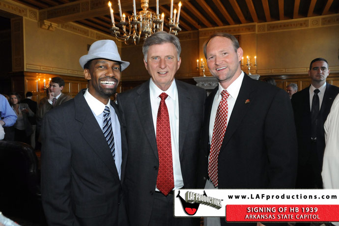 Larry Freeman, Governor Mike Beebe and Chris Crane, Film Commissioner