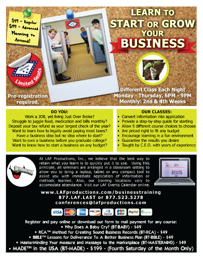 LAF Business Training Flyer